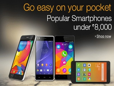 Smart phones below INR 8k at Amazon.in